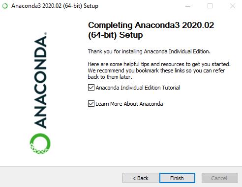 Anaconda3 Setup Completion