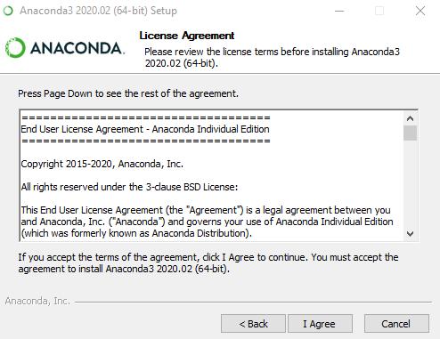 Anaconda Installation License Agreement