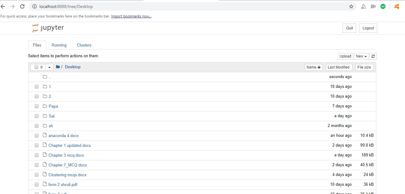 Creating a new folder in Jupyter Notebook