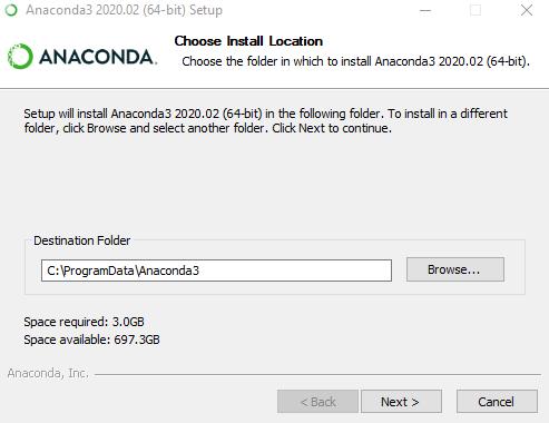 Installing Anaconda in a specific  Folder